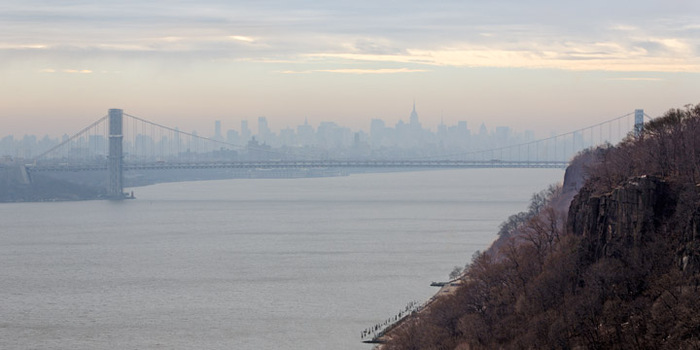 The George Washington Bridge and Manhattan on misty morning